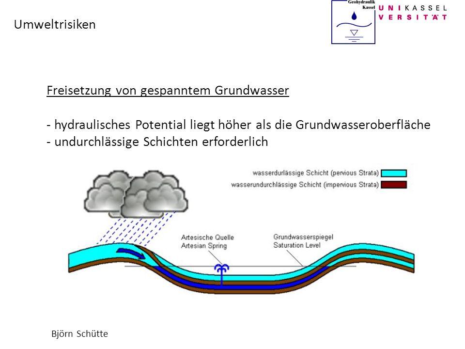 Björn Schütte Umweltrisiken Freisetzung von gespanntem Grundwasser - hydraulisches Potential liegt höher als die Grundwasseroberfläche - undurchlässig