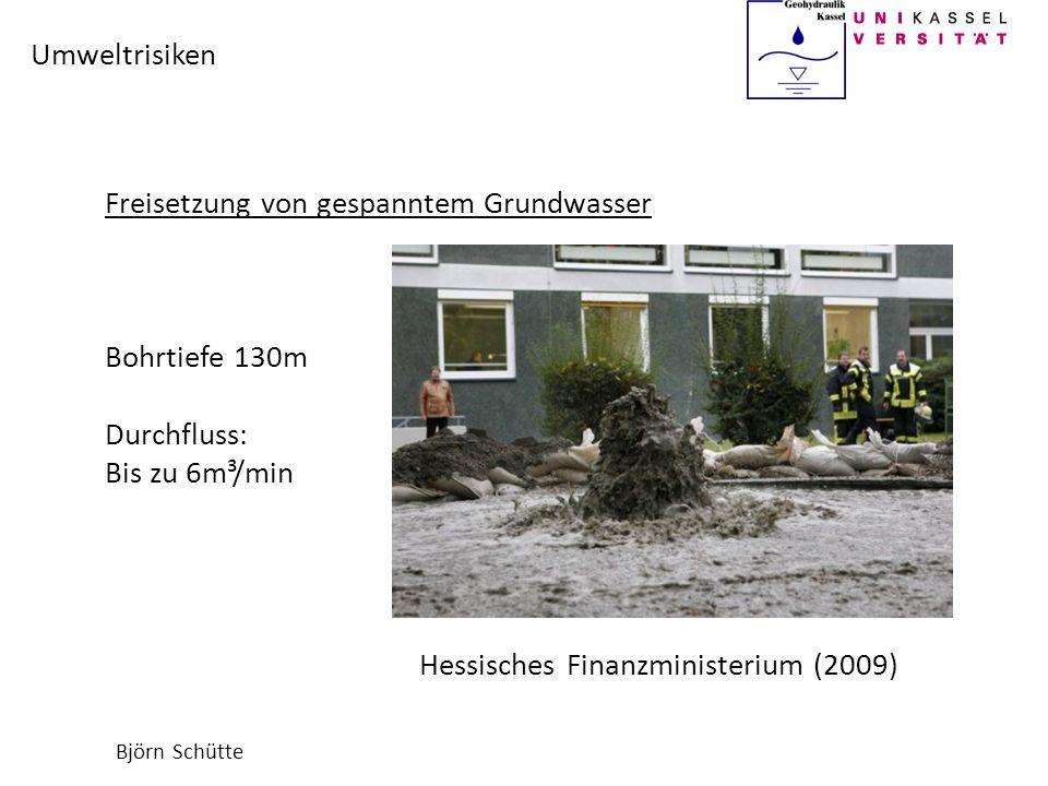Björn Schütte Umweltrisiken Freisetzung von gespanntem Grundwasser Bohrtiefe 130m Durchfluss: Bis zu 6m³/min Hessisches Finanzministerium (2009)
