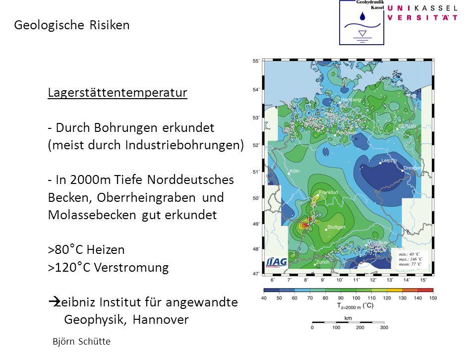 Björn Schütte Geologische Risiken Lagerstättentemperatur - Risiko besteht in größeren Tiefen - in 3000m Tiefe Oberrheingraben nur noch mäßig erkundet