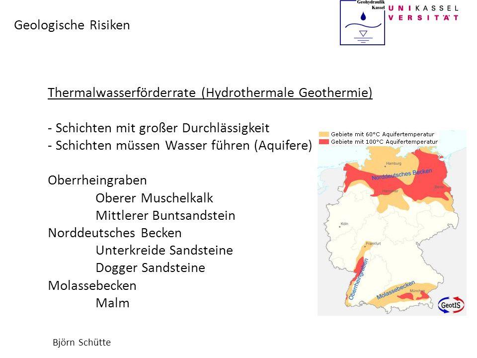 Björn Schütte Geologische Risiken Thermalwasserförderrate (Hydrothermale Geothermie) - Schichten mit großer Durchlässigkeit - Schichten müssen Wasser