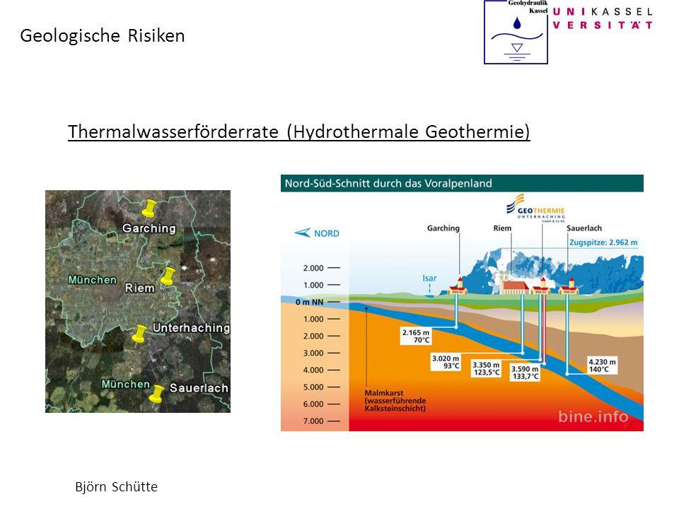 Björn Schütte Geologische Risiken Physikalische Eigenschaften des Gesteins Wärmeleitfähigkeit gibt an wie schnell die entzogene Wärme nachgeführt werden kann Bei geringerer Wärmeleitfähigkeit als erwartet, muss die Förderrate reduziert werden GesteinWärmeleitfähigkeit l [W/(m·K)] Kalkstein2-2,5 Sandstein1,8-5 Dolomite2,2-5,3 Quarzite3,5-7