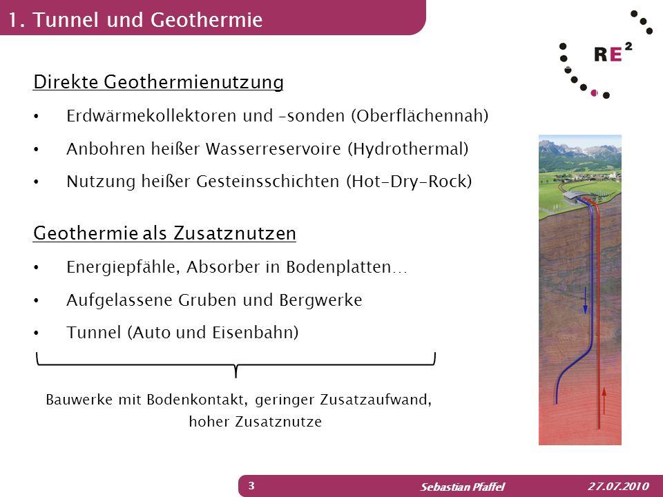 Sebastian Pfaffel 27.07.2010 1. Tunnel und Geothermie 3 Direkte Geothermienutzung Erdwärmekollektoren und –sonden (Oberflächennah) Anbohren heißer Was