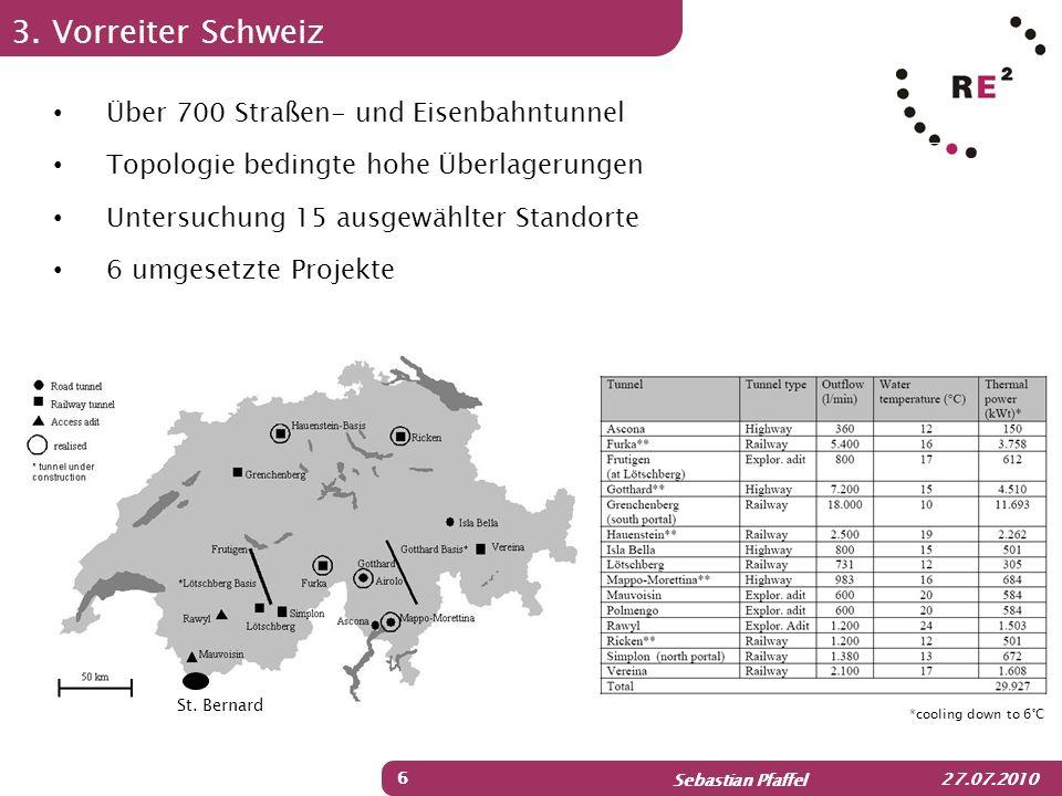 Sebastian Pfaffel 27.07.2010 3. Vorreiter Schweiz 6 Über 700 Straßen- und Eisenbahntunnel Topologie bedingte hohe Überlagerungen Untersuchung 15 ausge