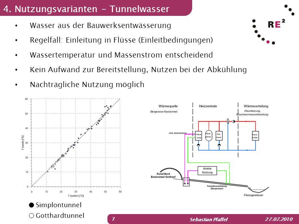 Sebastian Pfaffel 27.07.2010 4. Nutzungsvarianten - Tunnelwasser 7 Wasser aus der Bauwerksentwässerung Regelfall: Einleitung in Flüsse (Einleitbedingu