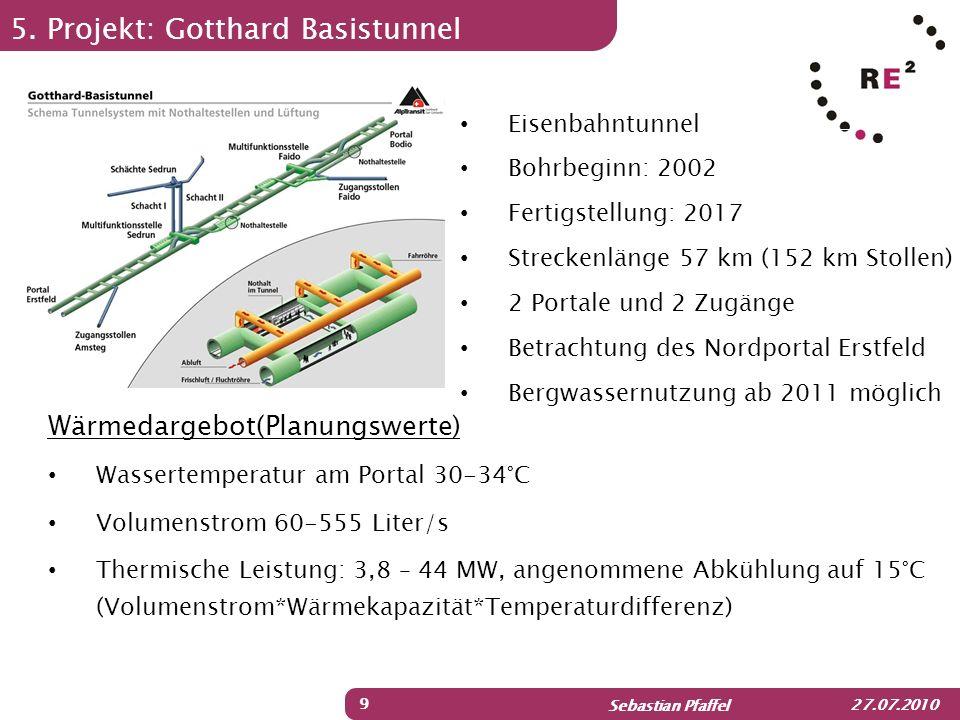 Sebastian Pfaffel 27.07.2010 5. Projekt: Gotthard Basistunnel 9 Wärmedargebot(Planungswerte) Wassertemperatur am Portal 30-34°C Volumenstrom 60-555 Li