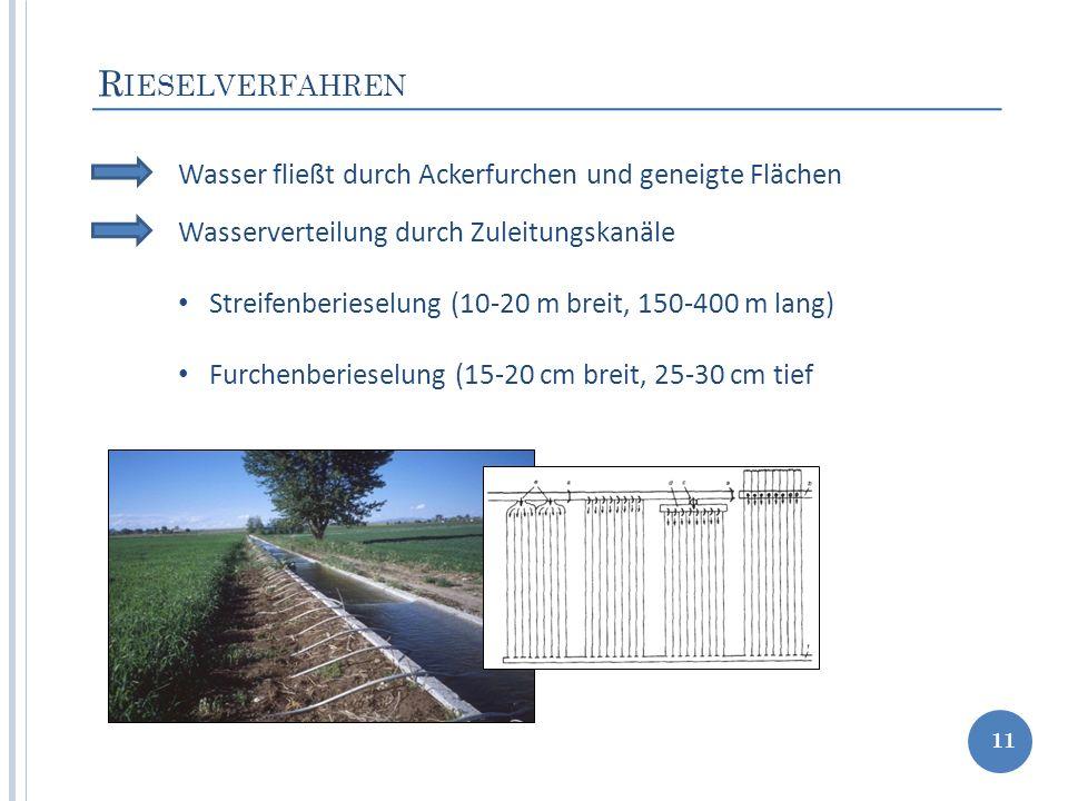 R IESELVERFAHREN 11 Wasser fließt durch Ackerfurchen und geneigte Flächen Wasserverteilung durch Zuleitungskanäle Streifenberieselung (10-20 m breit,