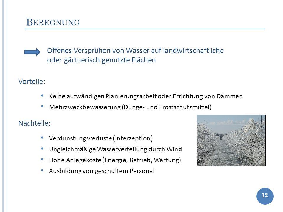 B EREGNUNG 12 Keine aufwändigen Planierungsarbeit oder Errichtung von Dämmen Mehrzweckbewässerung (Dünge- und Frostschutzmittel) Offenes Versprühen vo