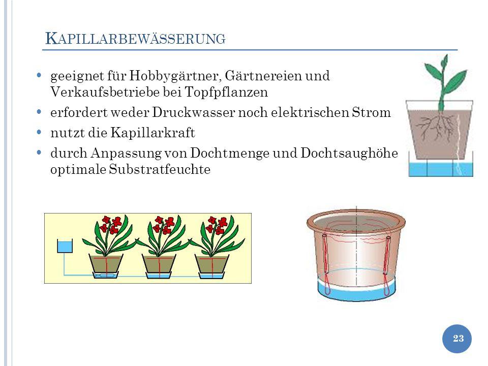 K APILLARBEWÄSSERUNG geeignet für Hobbygärtner, Gärtnereien und Verkaufsbetriebe bei Topfpflanzen erfordert weder Druckwasser noch elektrischen Strom