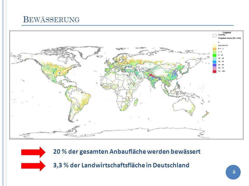 B EWÄSSERUNG 5 20 % der gesamten Anbaufläche werden bewässert 3,3 % der Landwirtschaftsfläche in Deutschland