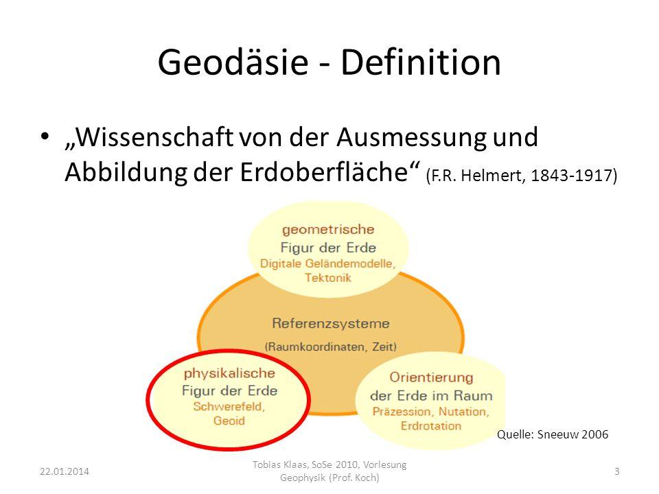 Geoid - Definition Niveaufläche des Erdschwerefeldes auf mittlerer Meereshöhe (Gauss-Listing) 22.01.20144 Tobias Klaas, SoSe 2010, Vorlesung Geophysik (Prof.