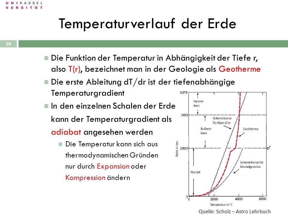 10 Die Funktion der Temperatur in Abhängigkeit der Tiefe r, also T(r), bezeichnet man in der Geologie als Geotherme Die erste Ableitung dT/dr ist der