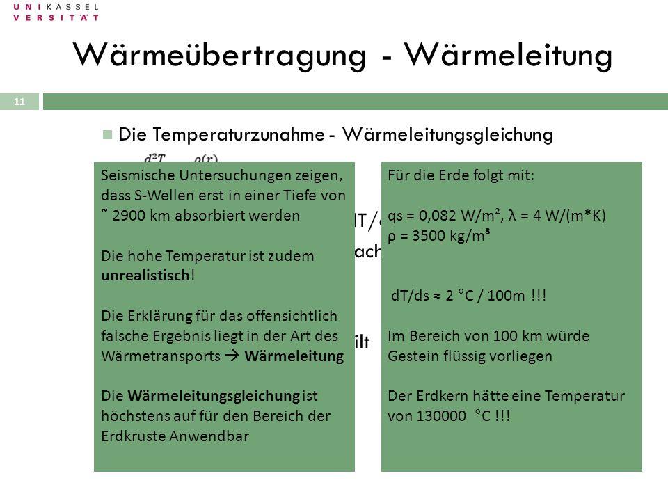 11 Die Temperaturzunahme - Wärmeleitungsgleichung Es gilt die Randbedingung dT/dt = 0 ! Anschließende Integration nach r liefert Nach weiterer Integra