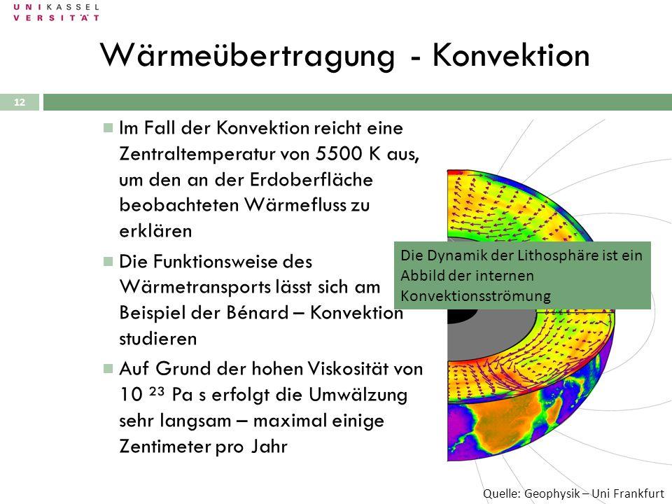 12 Im Fall der Konvektion reicht eine Zentraltemperatur von 5500 K aus, um den an der Erdoberfläche beobachteten Wärmefluss zu erklären Die Funktionsw