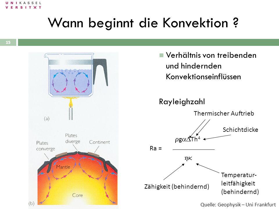 15 Wann beginnt die Konvektion ? Ra = g Th 4 Thermischer Auftrieb Schichtdicke Zähigkeit (behindernd) Temperatur- leitfähigkeit (behindernd) Verhältni