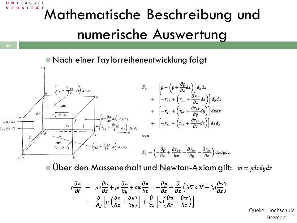 27 Mathematische Beschreibung und numerische Auswertung Nach einer Taylorreihenentwicklung folgt Über den Massenerhalt und Newton-Axiom gilt: Quelle: