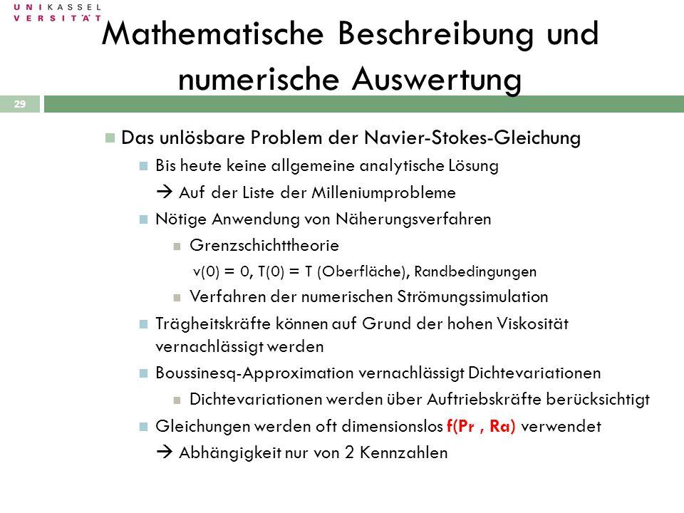 29 Mathematische Beschreibung und numerische Auswertung Das unlösbare Problem der Navier-Stokes-Gleichung Bis heute keine allgemeine analytische Lösun