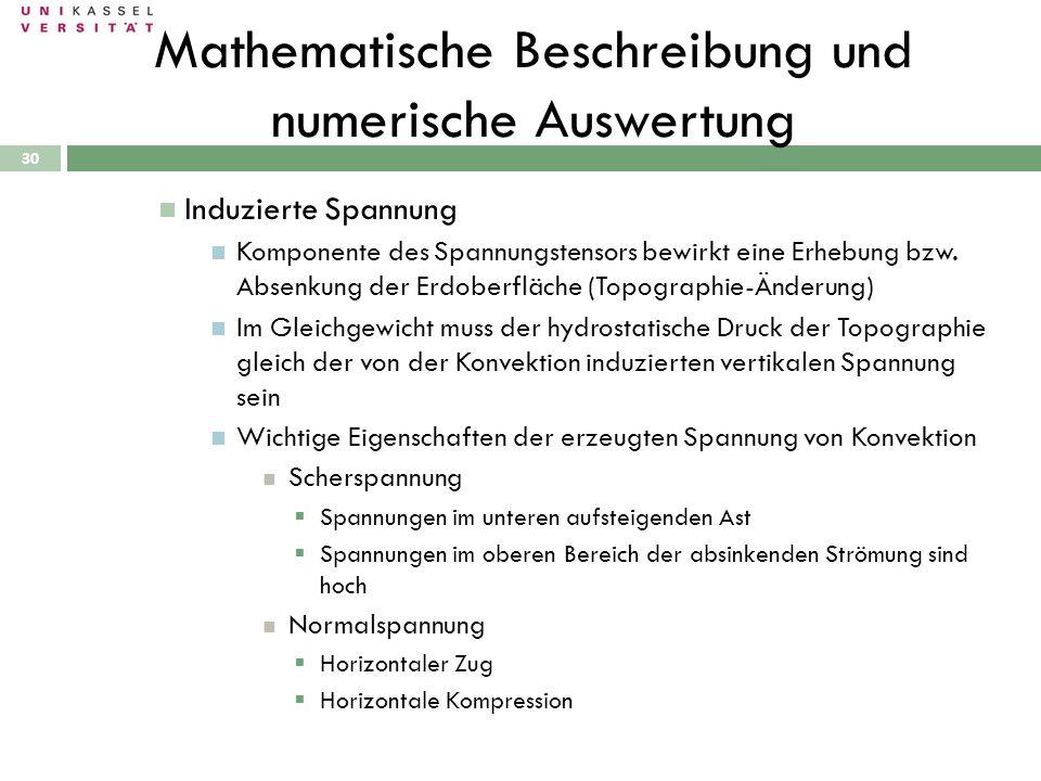 30 Mathematische Beschreibung und numerische Auswertung Induzierte Spannung Komponente des Spannungstensors bewirkt eine Erhebung bzw. Absenkung der E
