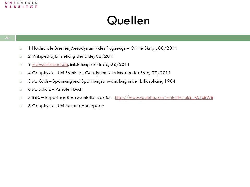 Quellen 28.09.2010 36 1 Hochschule Bremen, Aerodynamik des Flugzeugs – Online Skript, 08/2011 2 Wikipedia, Entstehung der Erde, 08/2011 3 www.surfscho