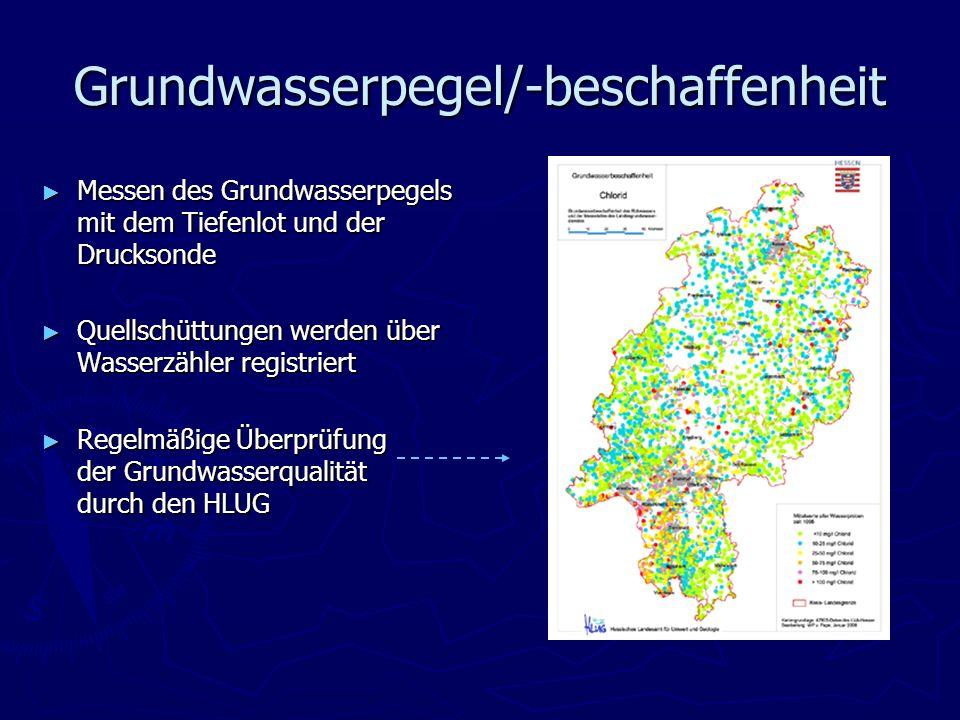 Grundwasserpegel/-beschaffenheit Messen des Grundwasserpegels mit dem Tiefenlot und der Drucksonde Messen des Grundwasserpegels mit dem Tiefenlot und