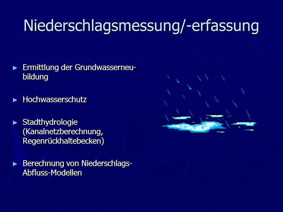 Niederschlagsmessung/-erfassung Ermittlung der Grundwasserneu- bildung Ermittlung der Grundwasserneu- bildung Hochwasserschutz Hochwasserschutz Stadth