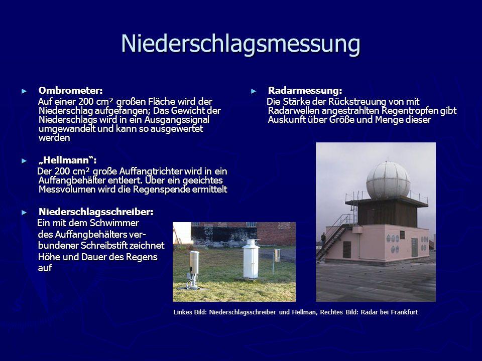 Niederschlagsmessung Ombrometer: Ombrometer: Auf einer 200 cm² großen Fläche wird der Niederschlag aufgefangen; Das Gewicht der Niederschlags wird in