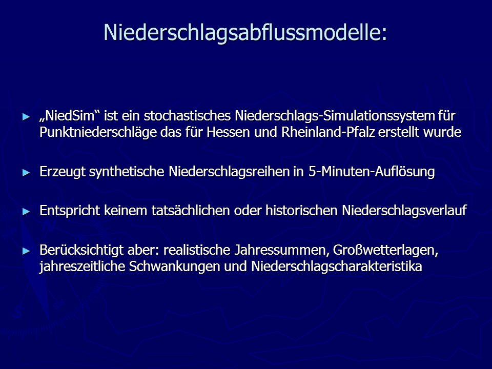 Niederschlagsabflussmodelle: NiedSim ist ein stochastisches Niederschlags-Simulationssystem für Punktniederschläge das für Hessen und Rheinland-Pfalz