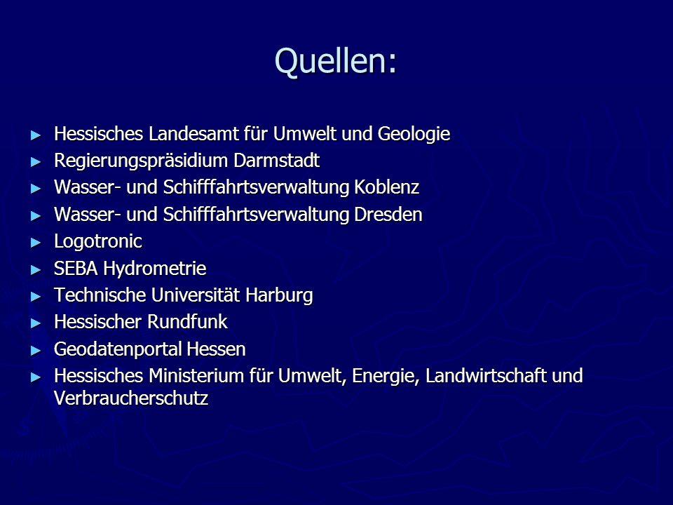 Quellen: Hessisches Landesamt für Umwelt und Geologie Hessisches Landesamt für Umwelt und Geologie Regierungspräsidium Darmstadt Regierungspräsidium D