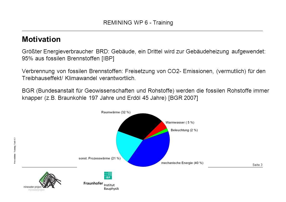 Seite 3 REMINING WP 6 - Training Presentation Training Task 6.3 Motivation Größter Energieverbraucher BRD: Gebäude, ein Drittel wird zur Gebäudeheizung aufgewendet: 95% aus fossilen Brennstoffen [IBP] Verbrennung von fossilen Brennstoffen: Freisetzung von CO2- Emissionen, (vermutlich) für den Treibhauseffekt/ Klimawandel verantwortlich.