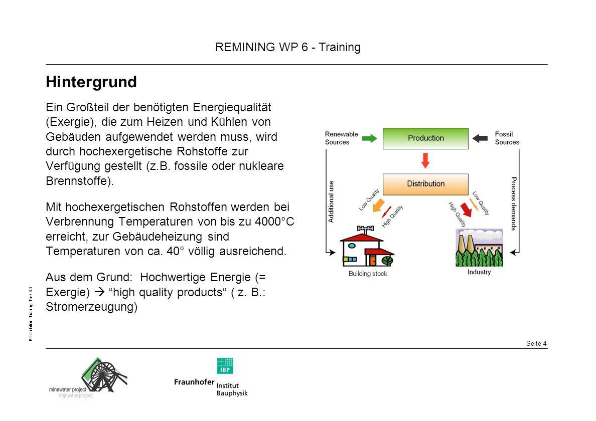 Seite 15 REMINING WP 6 - Training Presentation Training Task 6.3 Ausblick sehr viele ehemalige Bergbaukommunen sind in das Remining- Projekt involviert Man rechnet damit, dass im Jahre 2020 ca.