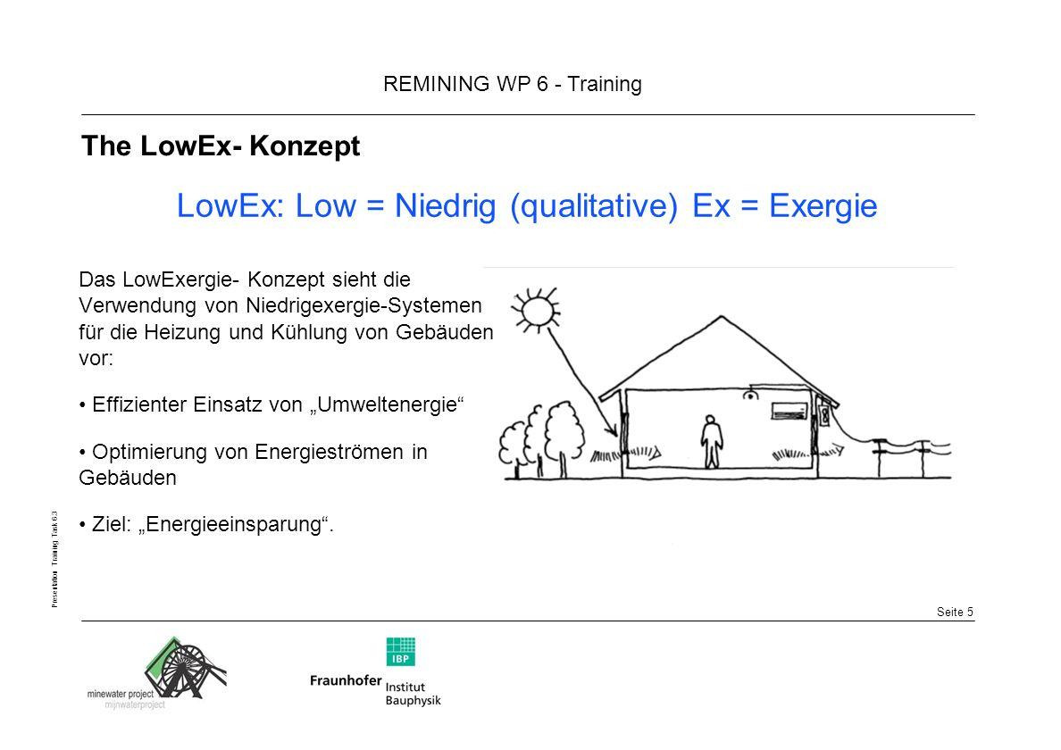 Seite 5 REMINING WP 6 - Training Presentation Training Task 6.3 The LowEx- Konzept Das LowExergie- Konzept sieht die Verwendung von Niedrigexergie-Systemen für die Heizung und Kühlung von Gebäuden vor: Effizienter Einsatz von Umweltenergie Optimierung von Energieströmen in Gebäuden Ziel: Energieeinsparung.