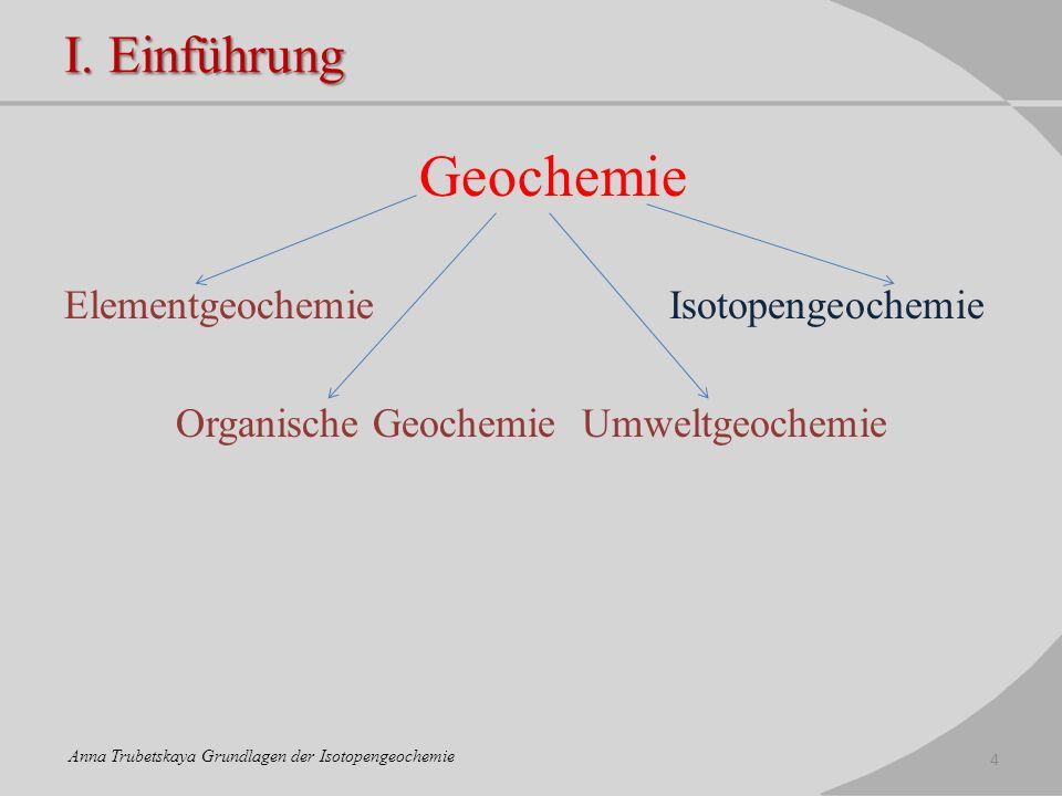 I. Einführung Geochemie Elementgeochemie Isotopengeochemie Organische Geochemie Umweltgeochemie 4 Anna Trubetskaya Grundlagen der Isotopengeochemie