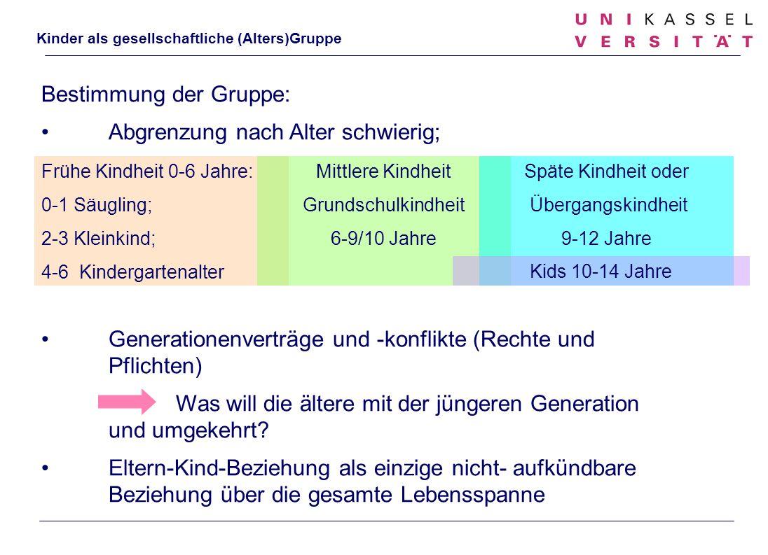 Kinder als gesellschaftliche (Alters)Gruppe Bestimmung der Gruppe: Abgrenzung nach Alter schwierig; Generationenverträge und -konflikte (Rechte und Pf
