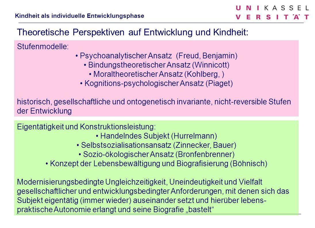 Kindheit als individuelle Entwicklungsphase Theoretische Perspektiven auf Entwicklung und Kindheit: Eigentätigkeit und Konstruktionsleistung: Handelnd