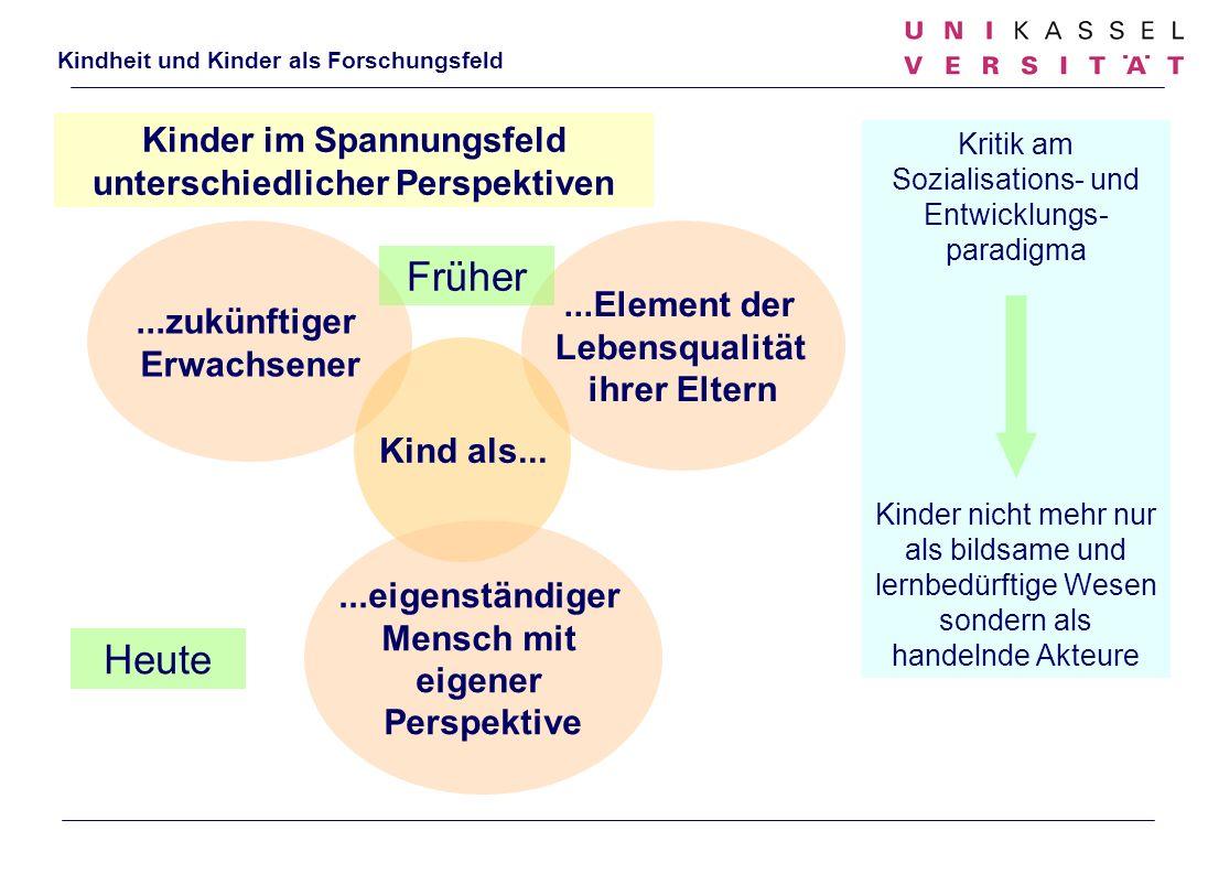 Kindheit und Kinder als Forschungsfeld Kinder im Spannungsfeld unterschiedlicher Perspektiven...Element der Lebensqualität ihrer Eltern...zukünftiger