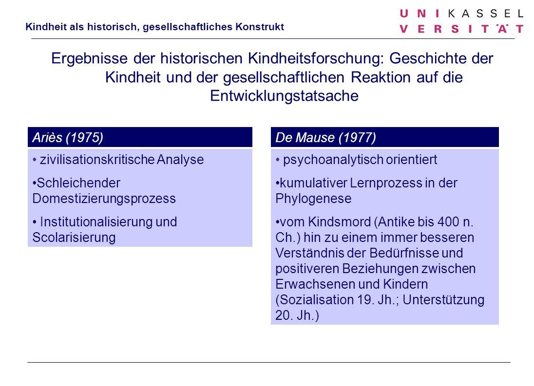 Ergebnisse der historischen Kindheitsforschung: Geschichte der Kindheit und der gesellschaftlichen Reaktion auf die Entwicklungstatsache zivilisations