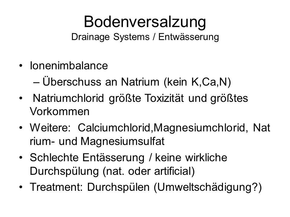 Bodenversalzung Drainage Systems / Entwässerung Ionenimbalance –Überschuss an Natrium (kein K,Ca,N) Natriumchlorid größte Toxizität und größtes Vorkom