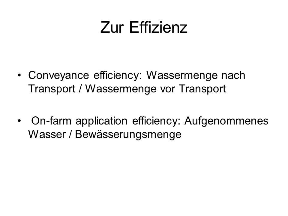 Zur Effizienz Conveyance efficiency: Wassermenge nach Transport / Wassermenge vor Transport On-farm application efficiency: Aufgenommenes Wasser / Bew