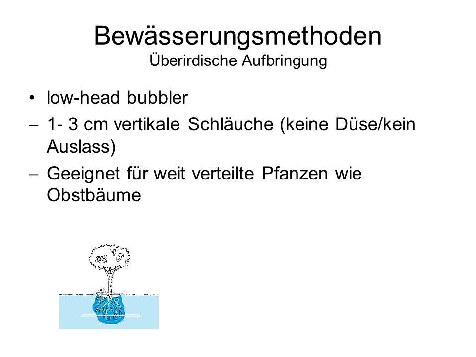 Bewässerungsmethoden Überirdische Aufbringung low-head bubbler 1- 3 cm vertikale Schläuche (keine Düse/kein Auslass) Geeignet für weit verteilte Pfanz