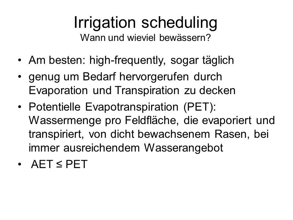 Irrigation scheduling Wann und wieviel bewässern? Am besten: high-frequently, sogar täglich genug um Bedarf hervorgerufen durch Evaporation und Transp