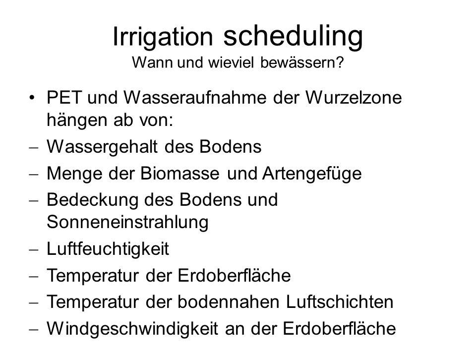 Irrigation scheduling Wann und wieviel bewässern? PET und Wasseraufnahme der Wurzelzone hängen ab von: Wassergehalt des Bodens Menge der Biomasse und
