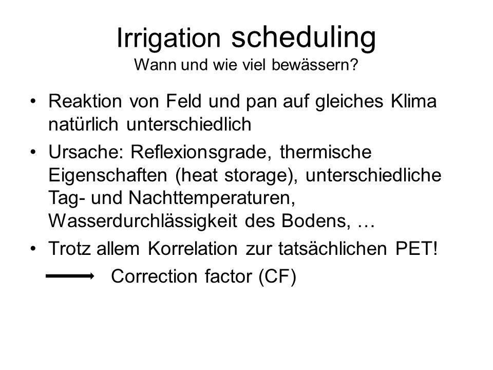 Irrigation scheduling Wann und wie viel bewässern? Reaktion von Feld und pan auf gleiches Klima natürlich unterschiedlich Ursache: Reflexionsgrade, th