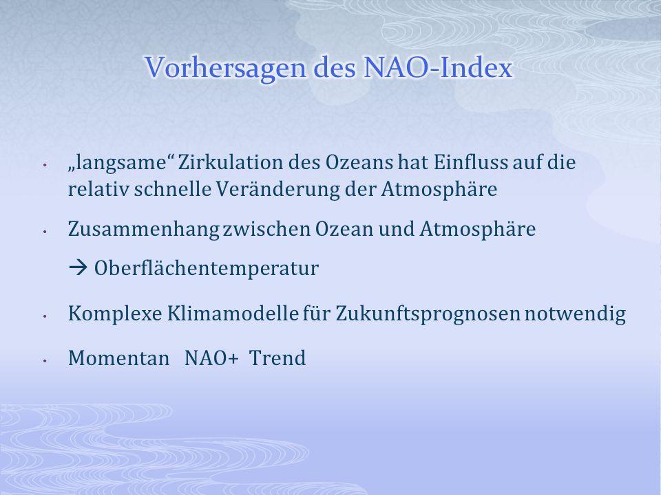 langsame Zirkulation des Ozeans hat Einfluss auf die relativ schnelle Veränderung der Atmosphäre Zusammenhang zwischen Ozean und Atmosphäre Oberfläche