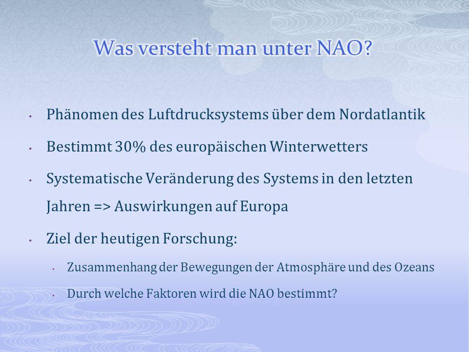 Phänomen des Luftdrucksystems über dem Nordatlantik Bestimmt 30% des europäischen Winterwetters Systematische Veränderung des Systems in den letzten J