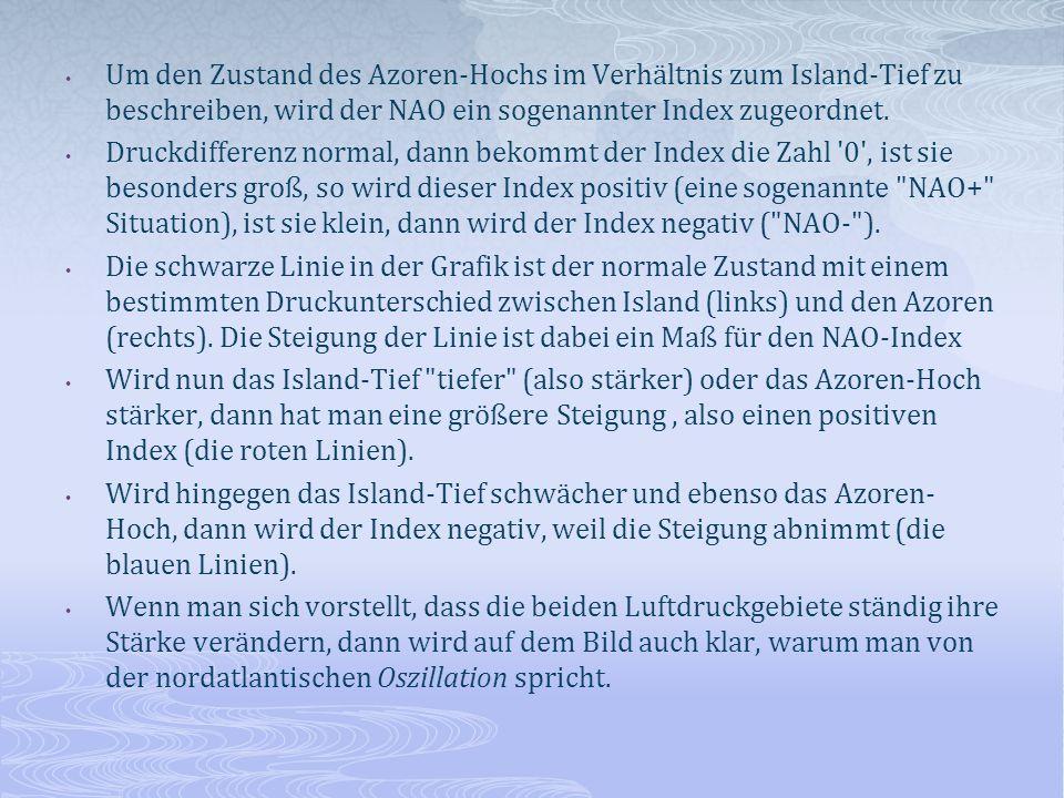 Um den Zustand des Azoren-Hochs im Verhältnis zum Island-Tief zu beschreiben, wird der NAO ein sogenannter Index zugeordnet. Druckdifferenz normal, da