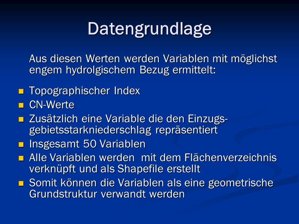 Datengrundlage Aus diesen Werten werden Variablen mit möglichst engem hydrolgischem Bezug ermittelt: Aus diesen Werten werden Variablen mit möglichst