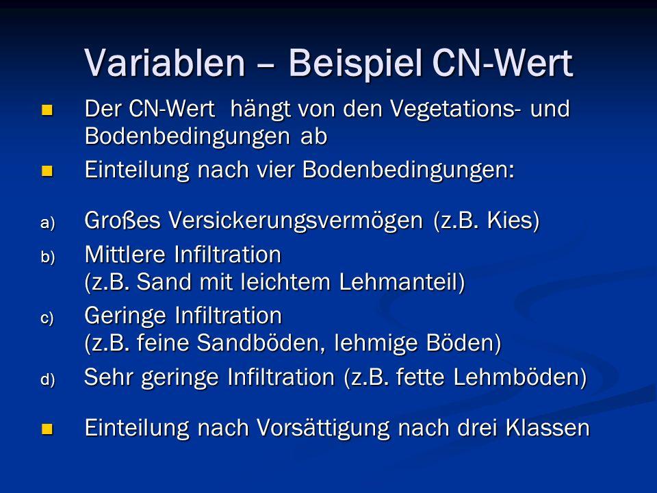 Variablen – Beispiel CN-Wert Der CN-Wert hängt von den Vegetations- und Bodenbedingungen ab Der CN-Wert hängt von den Vegetations- und Bodenbedingungen ab Einteilung nach vier Bodenbedingungen: Einteilung nach vier Bodenbedingungen: a) Großes Versickerungsvermögen (z.B.