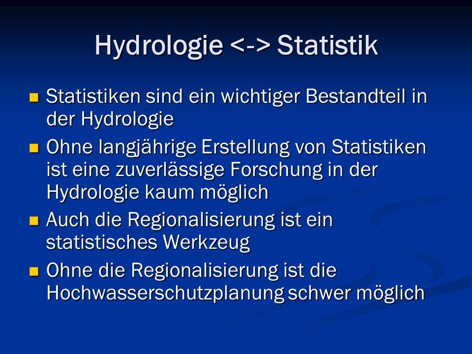 Hydrologie Statistik Statistiken sind ein wichtiger Bestandteil in der Hydrologie Statistiken sind ein wichtiger Bestandteil in der Hydrologie Ohne langjährige Erstellung von Statistiken ist eine zuverlässige Forschung in der Hydrologie kaum möglich Ohne langjährige Erstellung von Statistiken ist eine zuverlässige Forschung in der Hydrologie kaum möglich Auch die Regionalisierung ist ein statistisches Werkzeug Auch die Regionalisierung ist ein statistisches Werkzeug Ohne die Regionalisierung ist die Hochwasserschutzplanung schwer möglich Ohne die Regionalisierung ist die Hochwasserschutzplanung schwer möglich