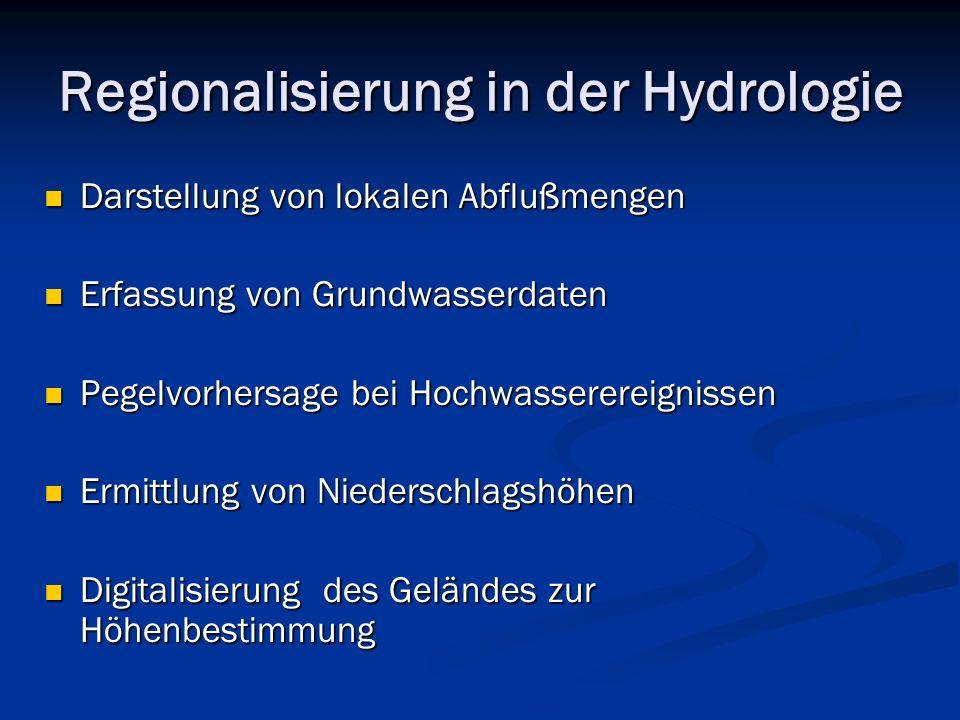 Regionalisierung in der Hydrologie Darstellung von lokalen Abflußmengen Darstellung von lokalen Abflußmengen Erfassung von Grundwasserdaten Erfassung