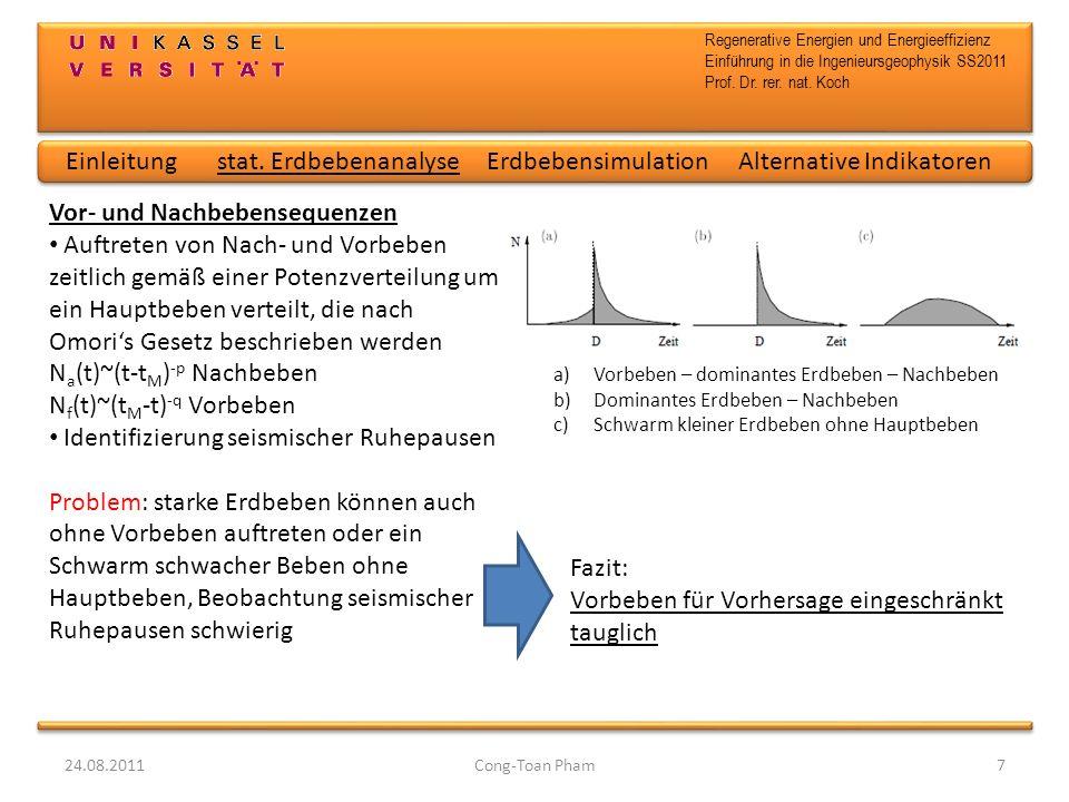 Regenerative Energien und Energieeffizienz Einführung in die Ingenieursgeophysik SS2011 Prof. Dr. rer. nat. Koch 24.08.2011Cong-Toan Pham7 Vor- und Na
