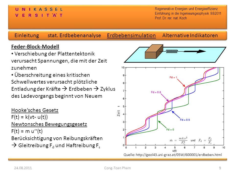 Regenerative Energien und Energieeffizienz Einführung in die Ingenieursgeophysik SS2011 Prof. Dr. rer. nat. Koch 24.08.2011Cong-Toan Pham9 Zeit Einlei